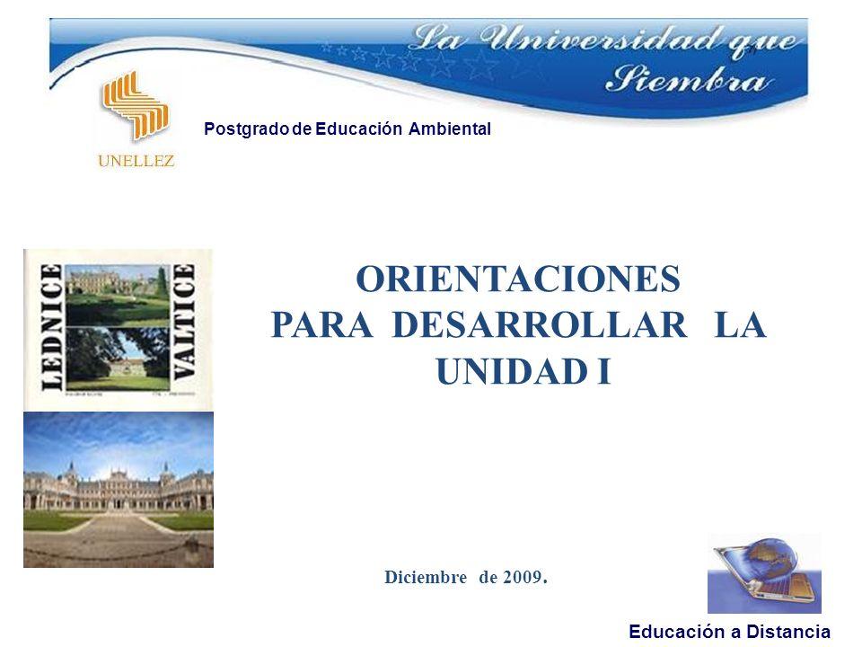 ORIENTACIONES PARA DESARROLLAR LA UNIDAD I Diciembre de 2009.