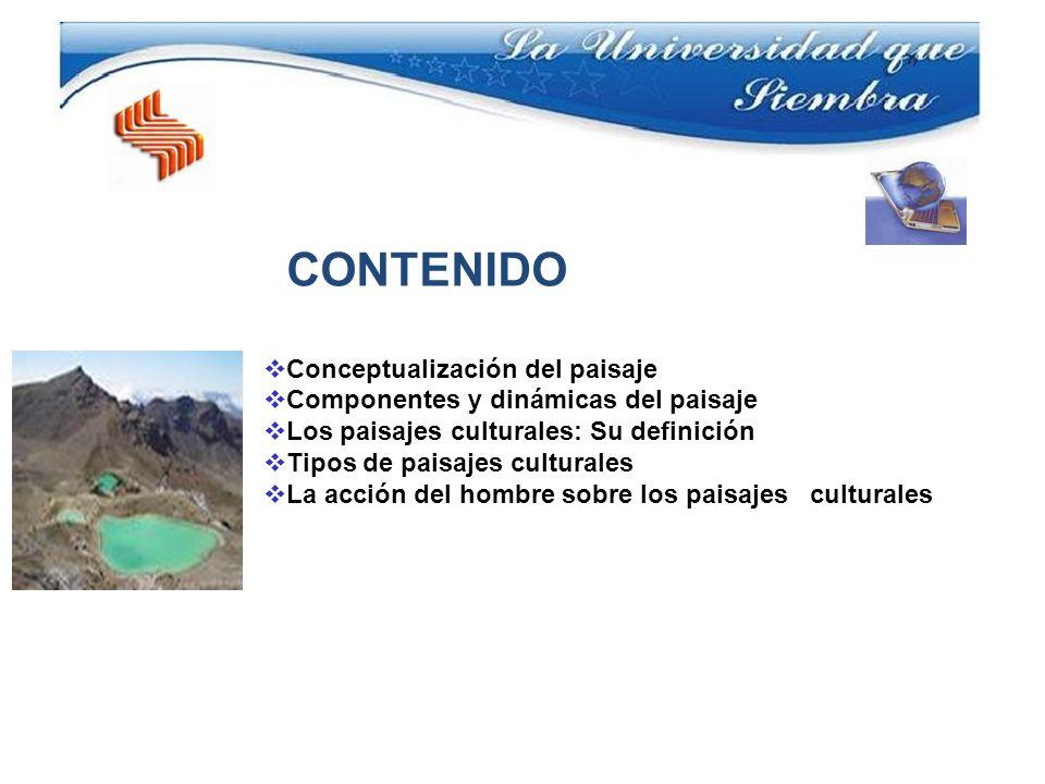 CONTENIDO Conceptualización del paisaje. Componentes y dinámicas del paisaje. Los paisajes culturales: Su definición.