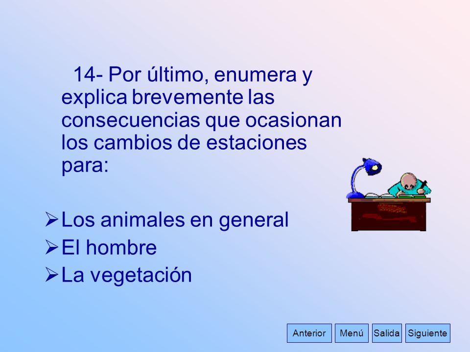 Los animales en general El hombre La vegetación