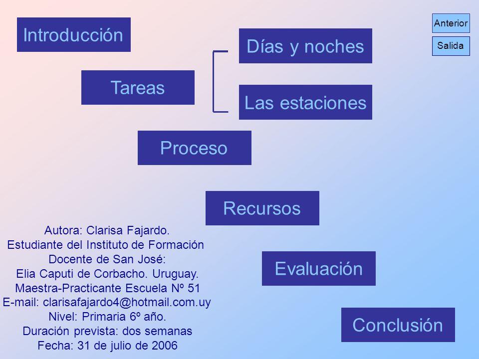 Introducción Días y noches Tareas Las estaciones Proceso Recursos