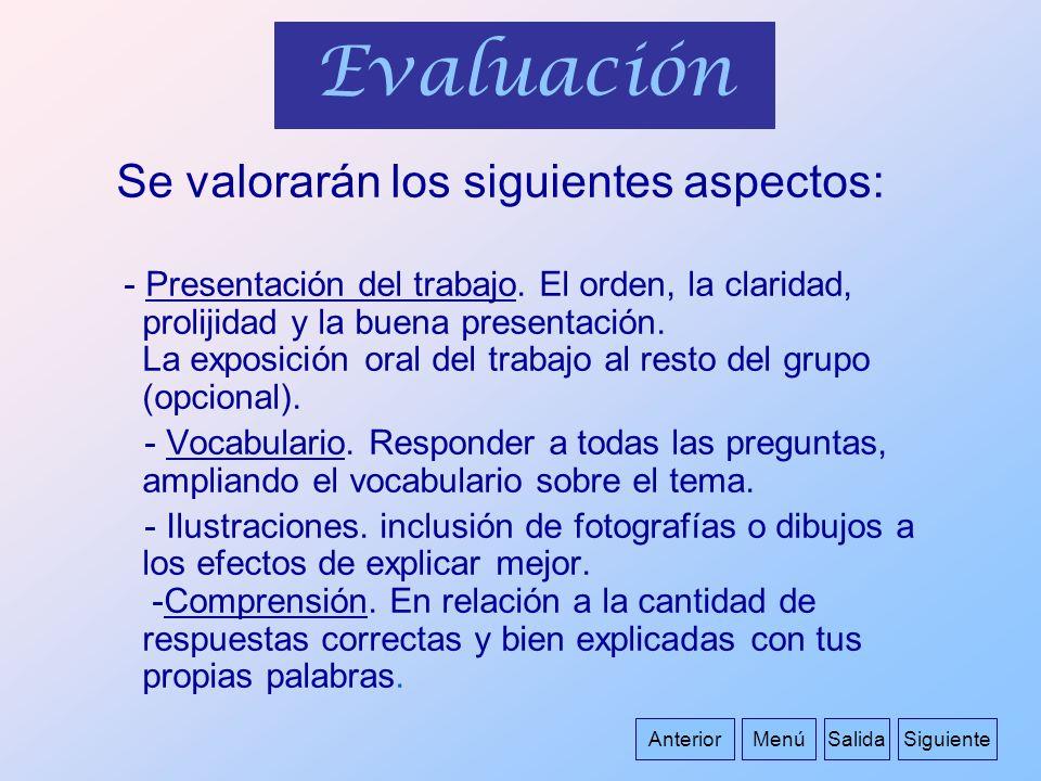 Evaluación Se valorarán los siguientes aspectos: