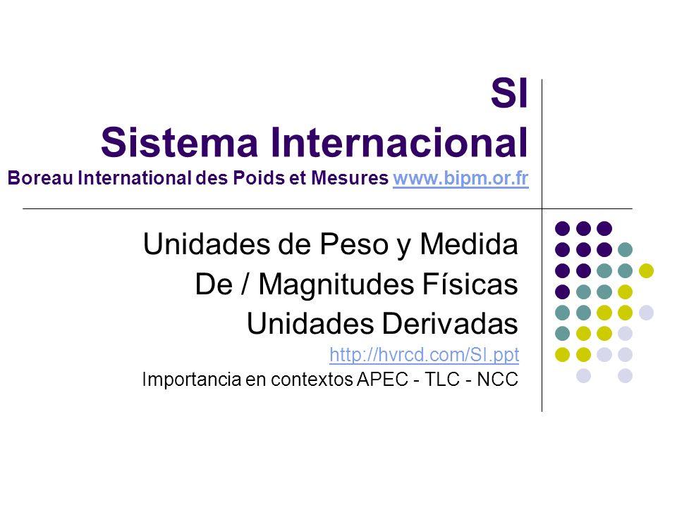 SI Sistema Internacional Boreau International des Poids et Mesures www