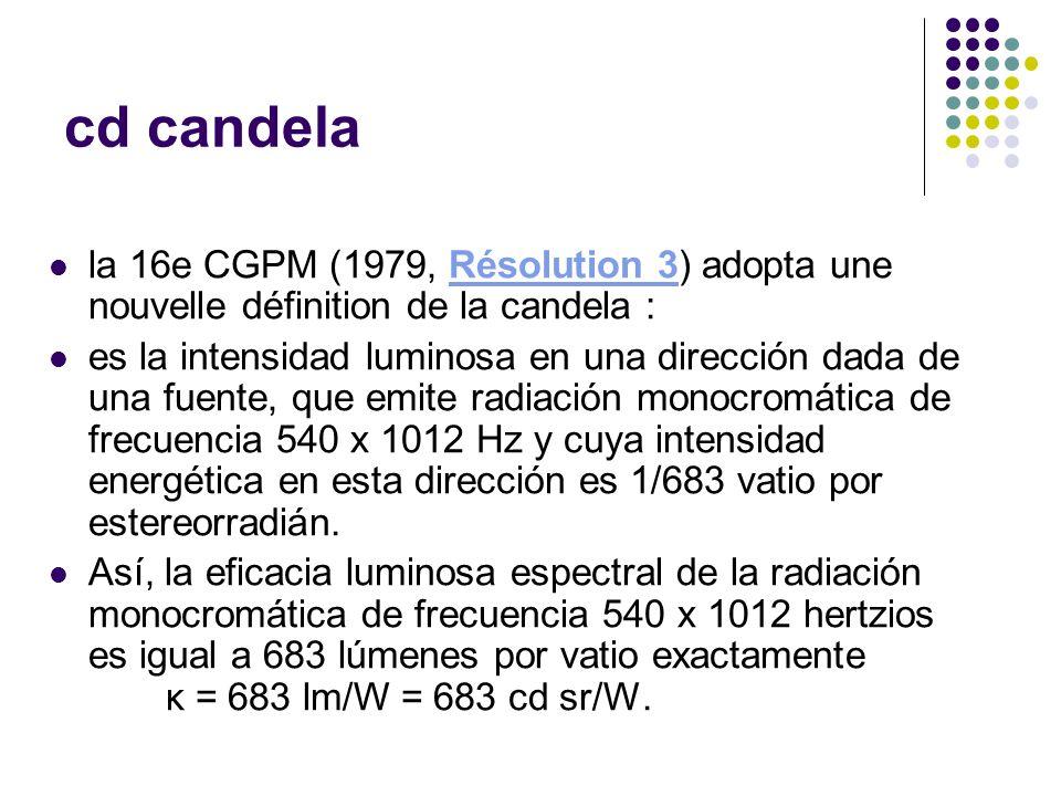 cd candela la 16e CGPM (1979, Résolution 3) adopta une nouvelle définition de la candela :