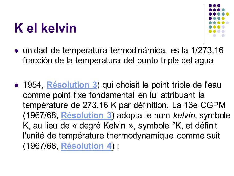 K el kelvin unidad de temperatura termodinámica, es la 1/273,16 fracción de la temperatura del punto triple del agua.