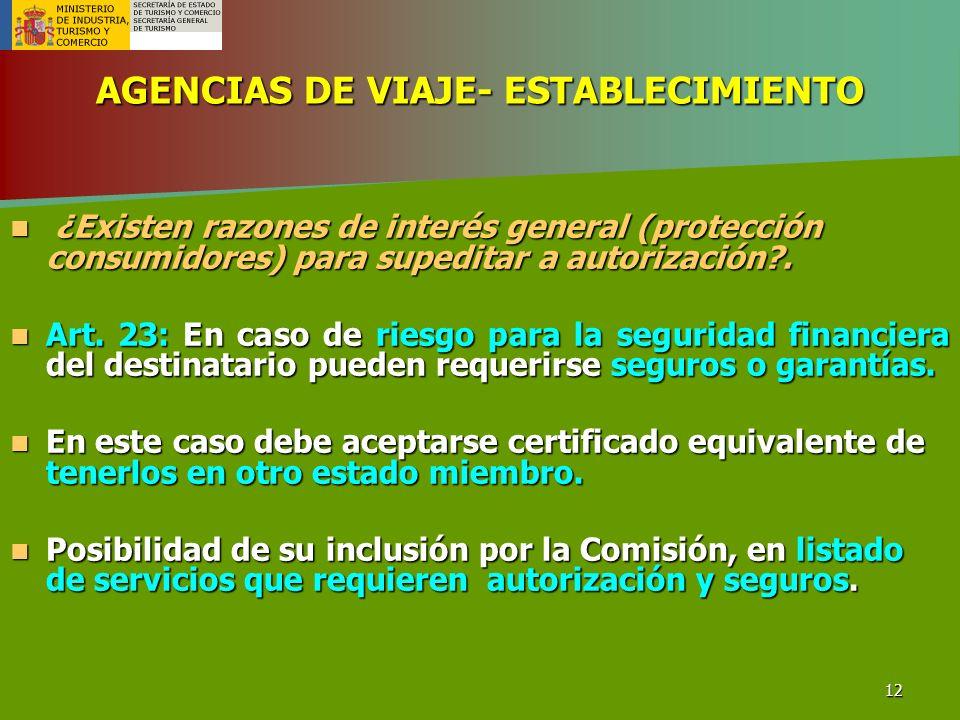 AGENCIAS DE VIAJE- ESTABLECIMIENTO