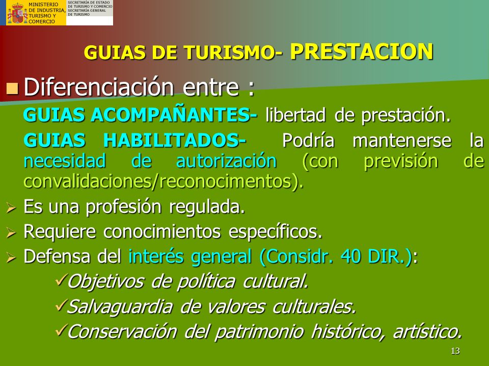 GUIAS DE TURISMO- PRESTACION