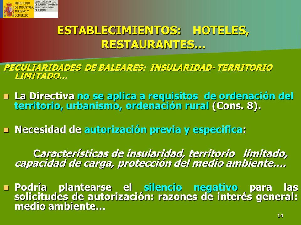 ESTABLECIMIENTOS: HOTELES, RESTAURANTES…