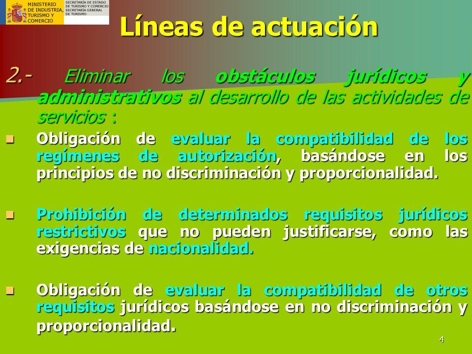 Líneas de actuación 2.- Eliminar los obstáculos jurídicos y administrativos al desarrollo de las actividades de servicios :