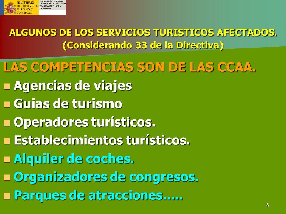 LAS COMPETENCIAS SON DE LAS CCAA. Agencias de viajes Guias de turismo