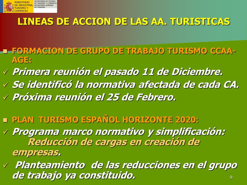 LINEAS DE ACCION DE LAS AA. TURISTICAS