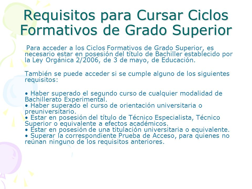 Requisitos para Cursar Ciclos Formativos de Grado Superior
