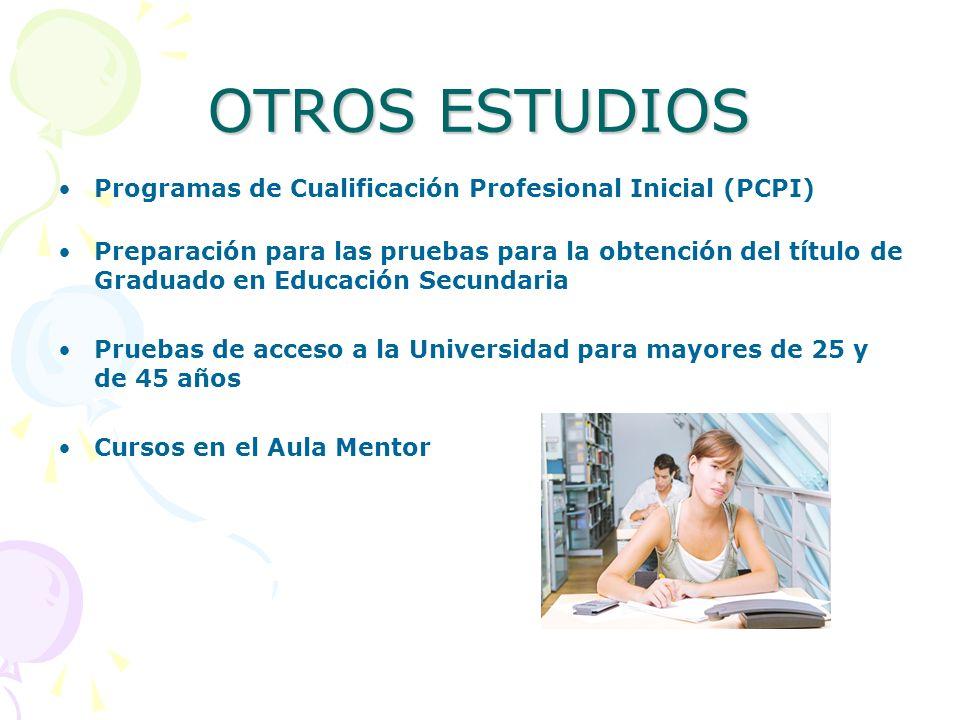 OTROS ESTUDIOS Programas de Cualificación Profesional Inicial (PCPI)