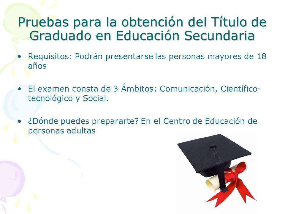 Pruebas para la obtención del Título de Graduado en Educación Secundaria