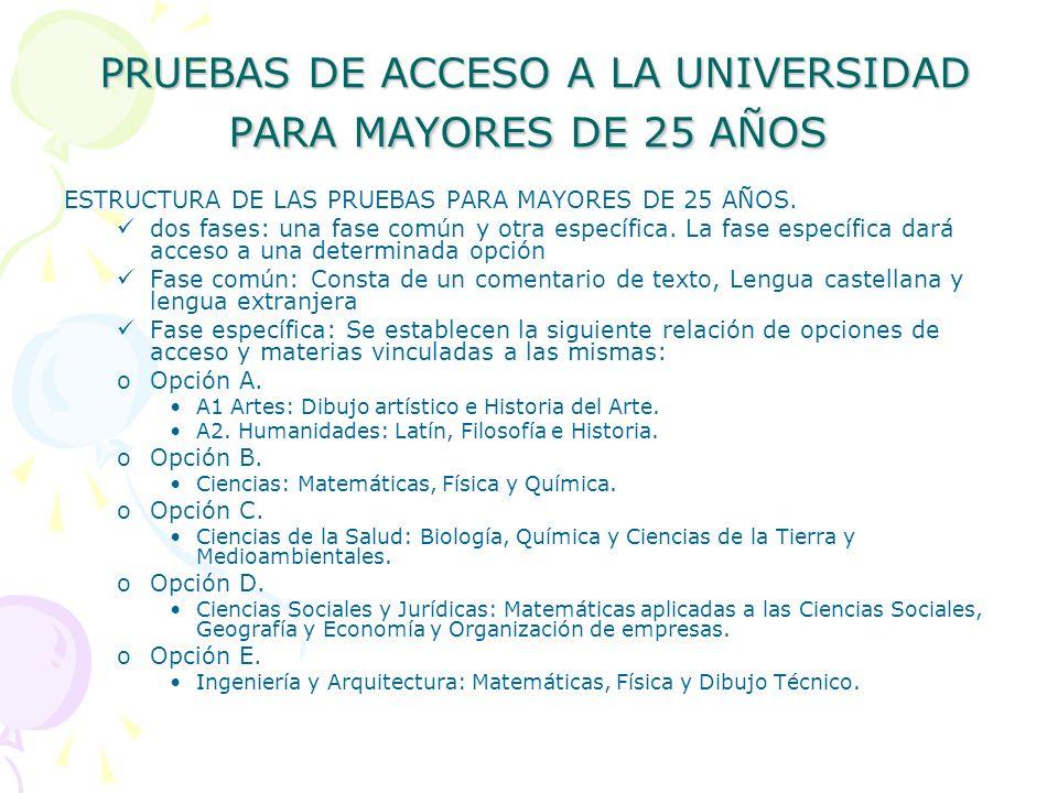 PRUEBAS DE ACCESO A LA UNIVERSIDAD PARA MAYORES DE 25 AÑOS