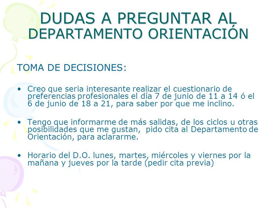 DUDAS A PREGUNTAR AL DEPARTAMENTO ORIENTACIÓN