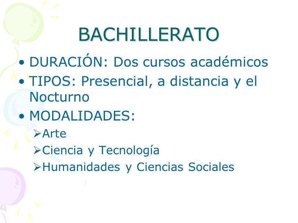 BACHILLERATO DURACIÓN: Dos cursos académicos