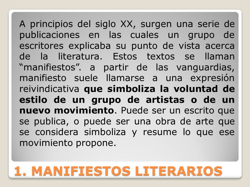 1. MANIFIESTOS LITERARIOS