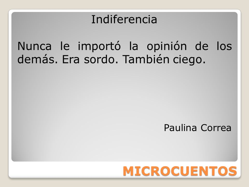 MICROCUENTOS Indiferencia