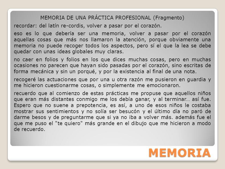 MEMORIA DE UNA PRÁCTICA PROFESIONAL (Fragmento)