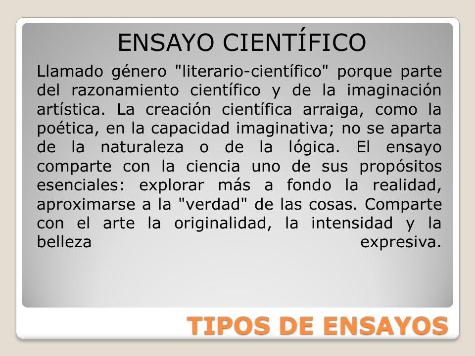 ENSAYO CIENTÍFICO TIPOS DE ENSAYOS