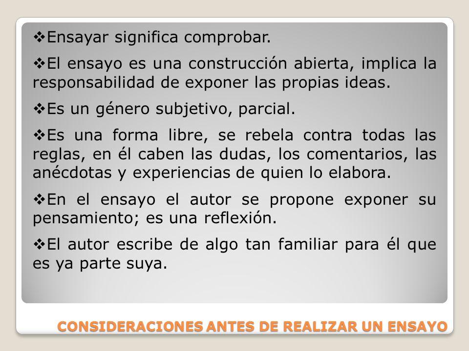 CONSIDERACIONES ANTES DE REALIZAR UN ENSAYO