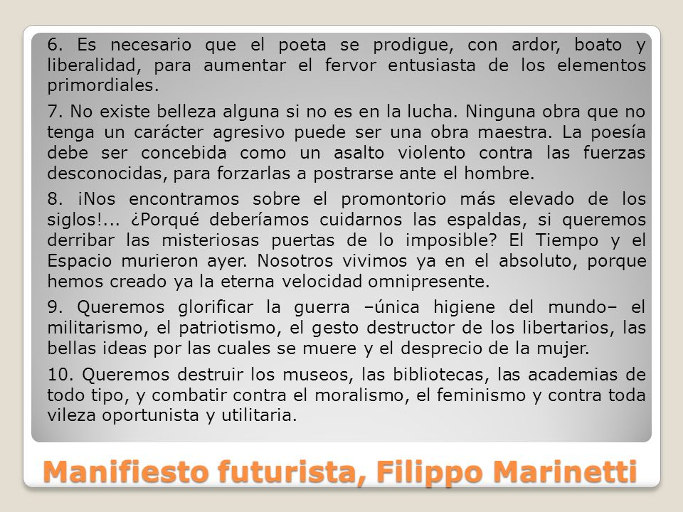 Manifiesto futurista, Filippo Marinetti