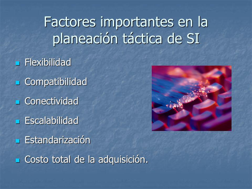 Factores importantes en la planeación táctica de SI