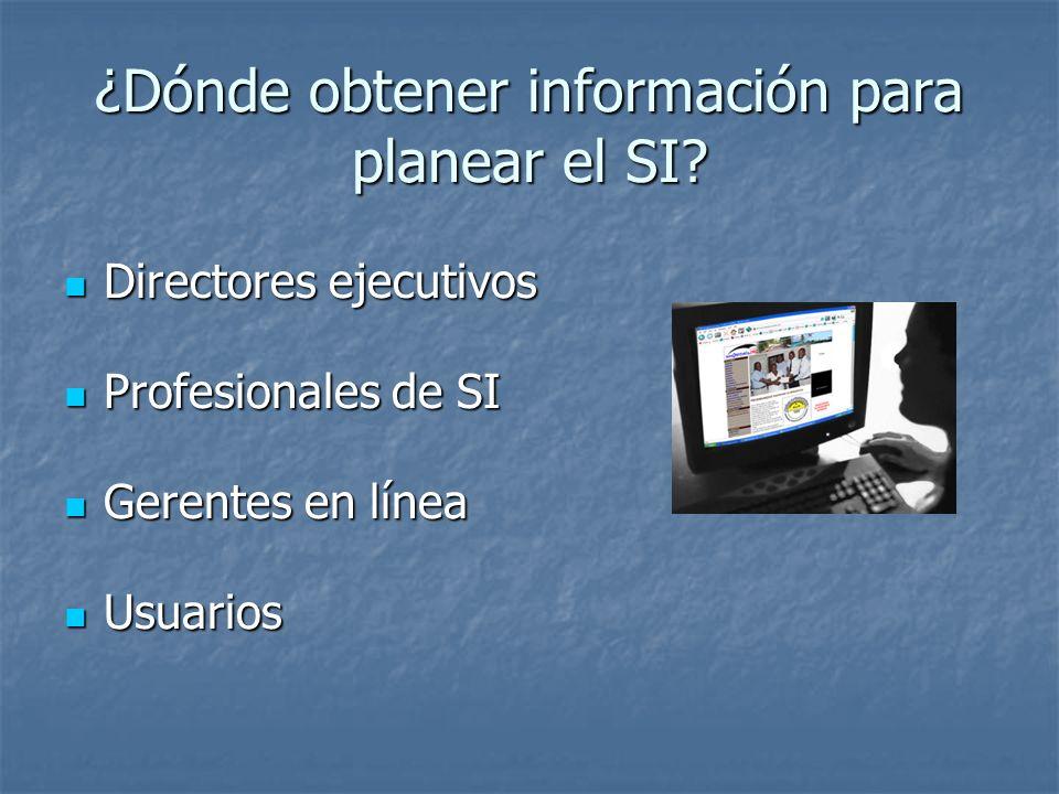 ¿Dónde obtener información para planear el SI