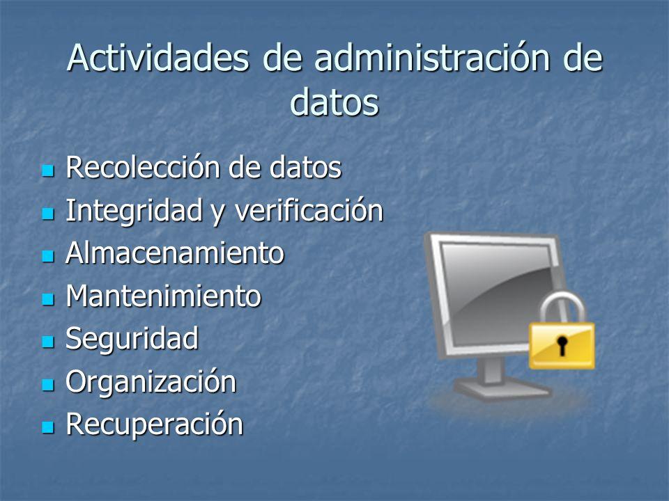 Actividades de administración de datos