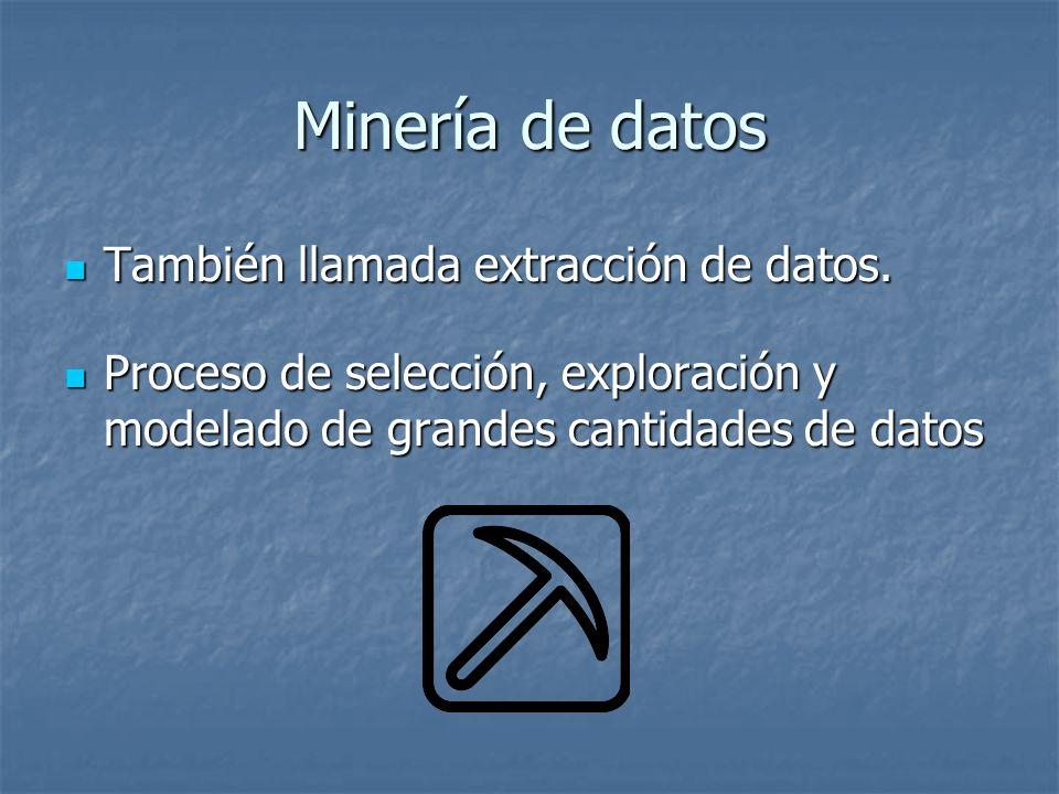 Minería de datos También llamada extracción de datos.