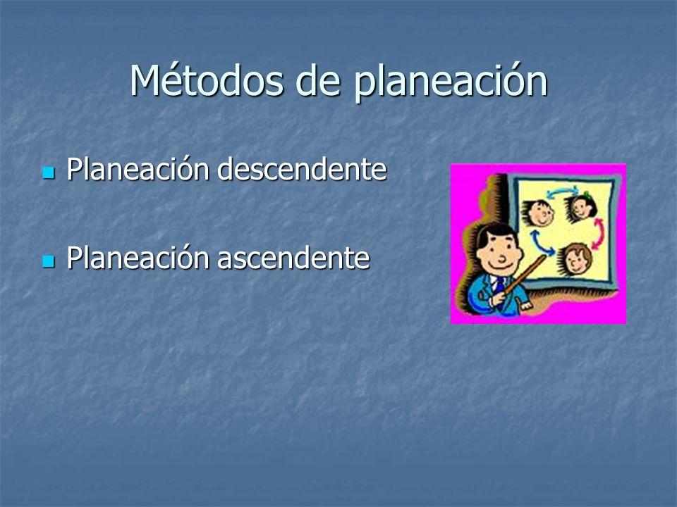Métodos de planeación Planeación descendente Planeación ascendente