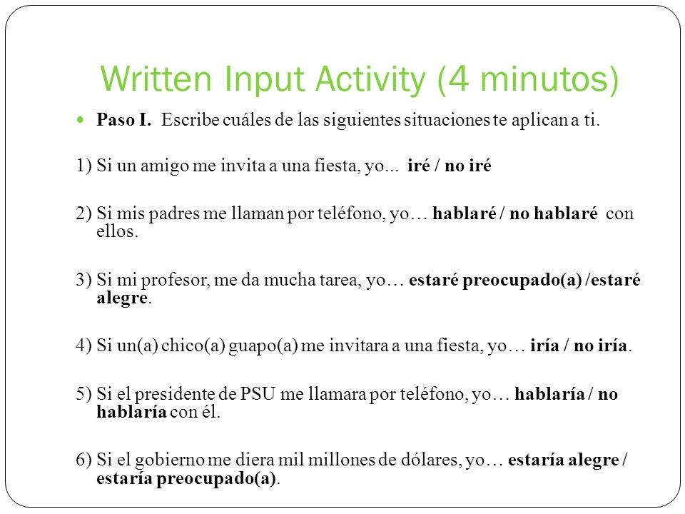 Written Input Activity (4 minutos)
