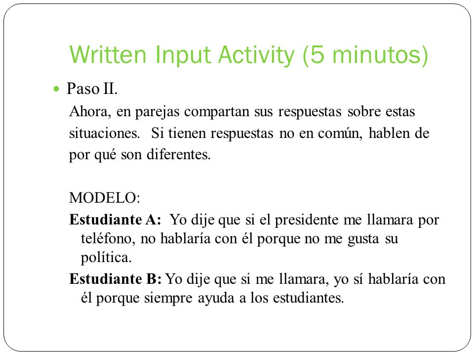 Written Input Activity (5 minutos)