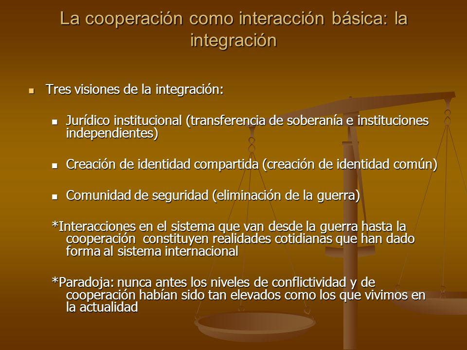 La cooperación como interacción básica: la integración