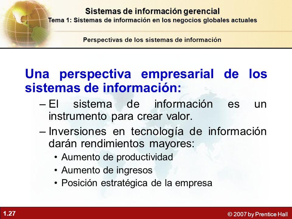Una perspectiva empresarial de los sistemas de información: