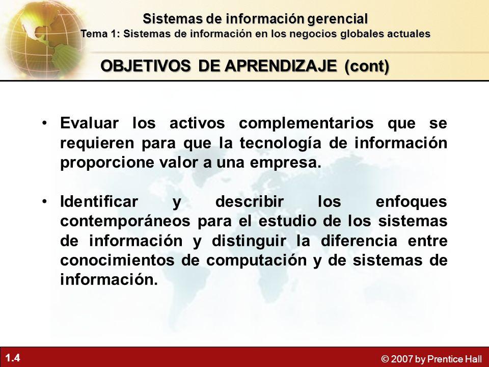 OBJETIVOS DE APRENDIZAJE (cont)