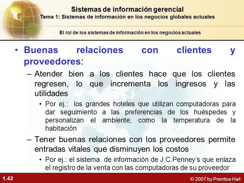 Buenas relaciones con clientes y proveedores: