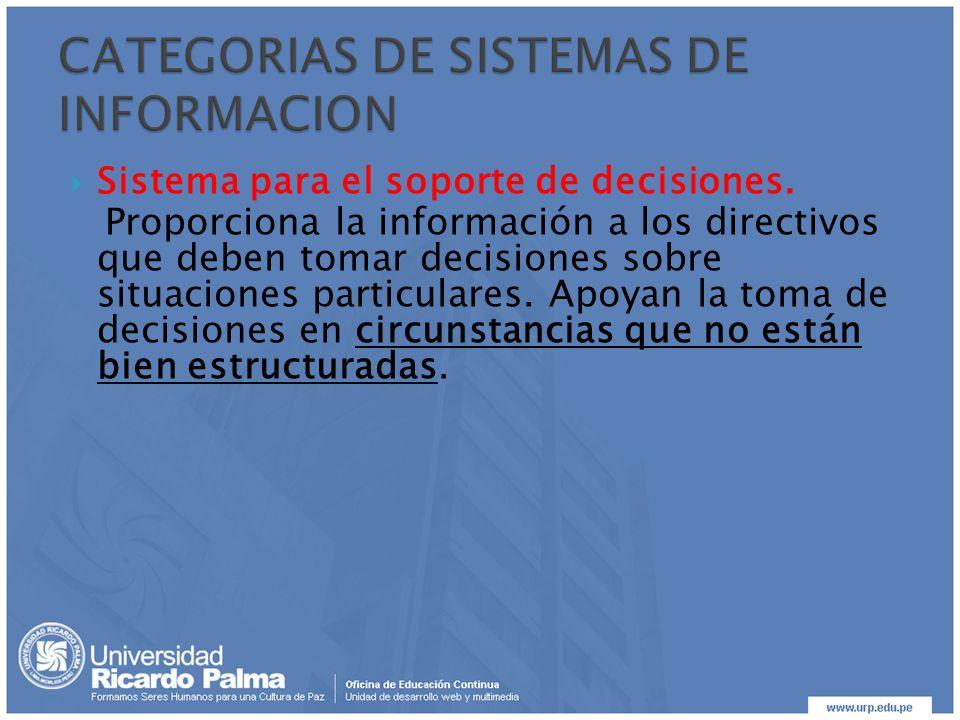 CATEGORIAS DE SISTEMAS DE INFORMACION