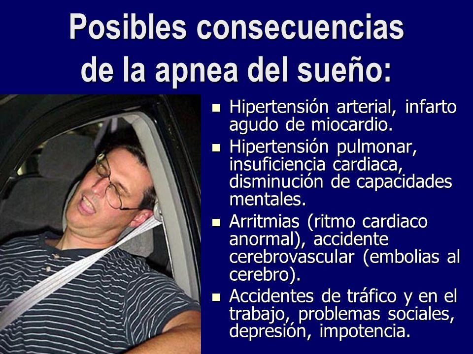 Posibles consecuencias de la apnea del sueño: