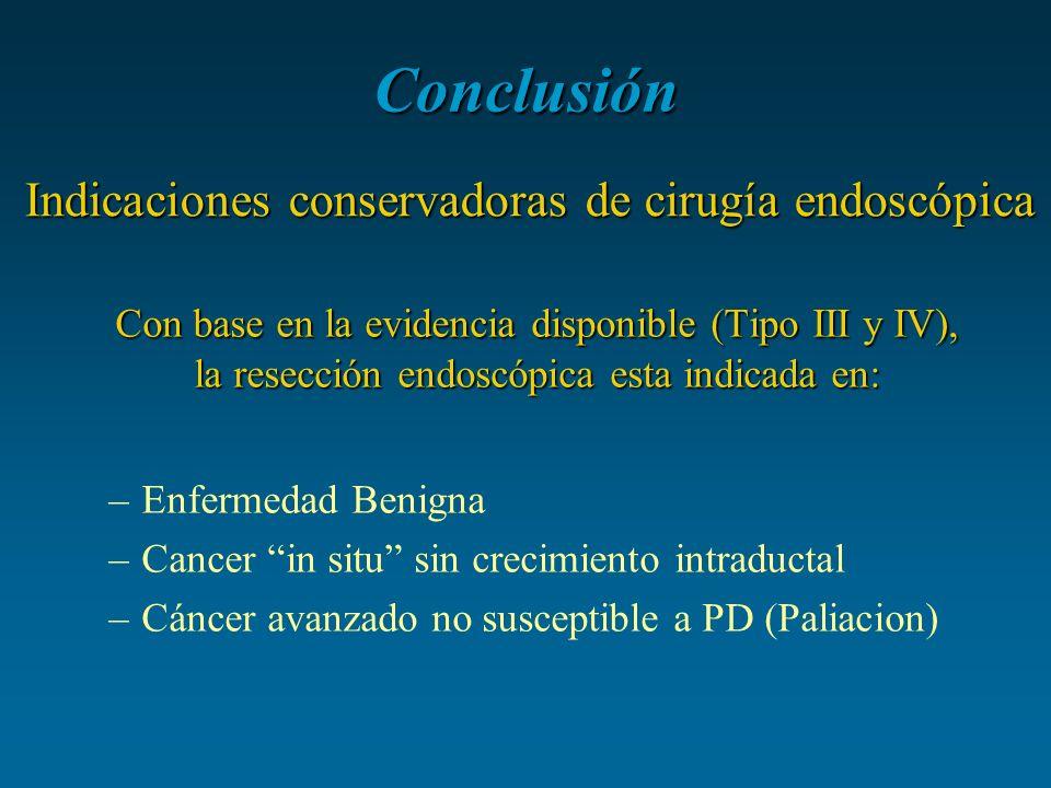 Conclusión Indicaciones conservadoras de cirugía endoscópica