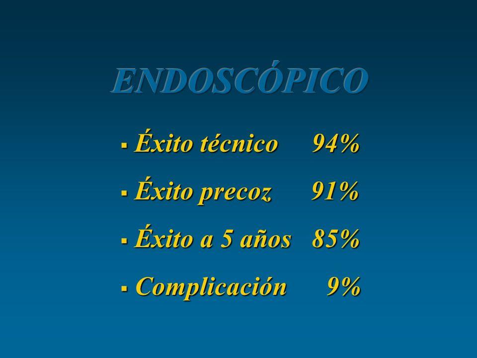 ENDOSCÓPICO Éxito técnico 94% Éxito precoz 91% Éxito a 5 años 85%
