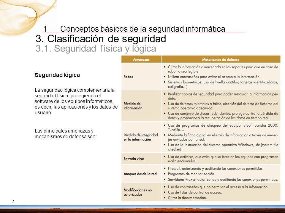 3. Clasificación de seguridad 3.1. Seguridad física y lógica
