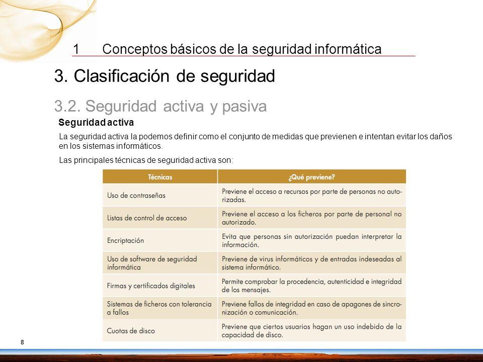 3. Clasificación de seguridad