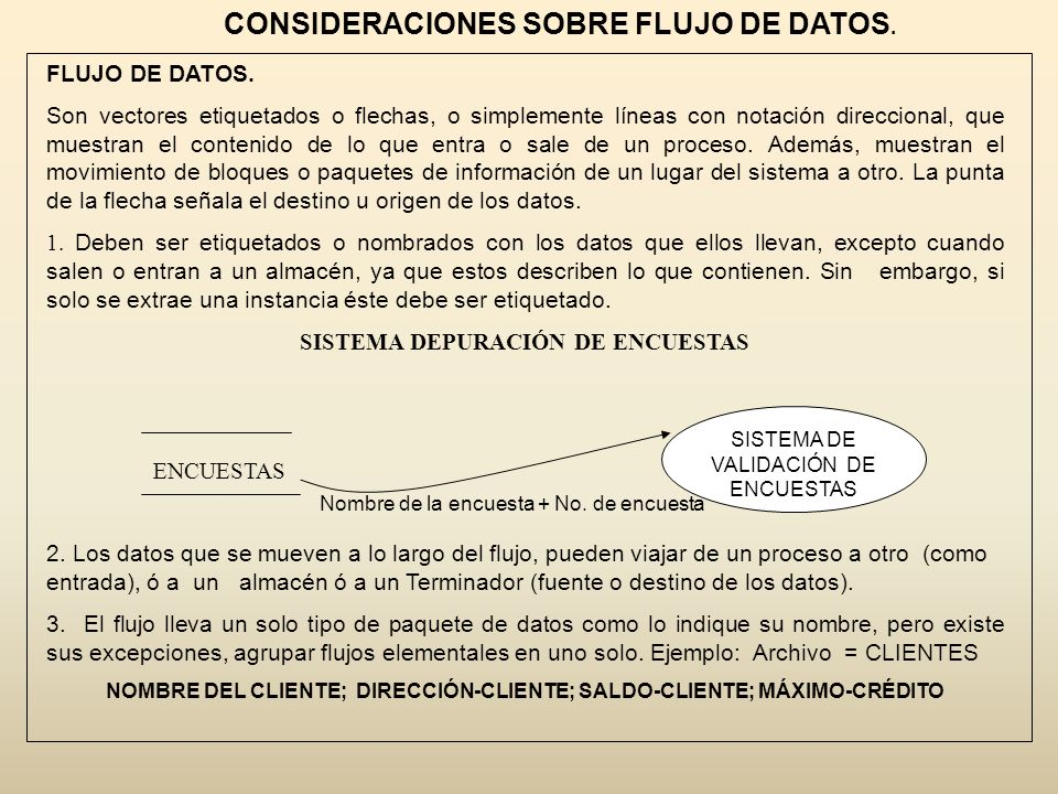 CONSIDERACIONES SOBRE FLUJO DE DATOS.