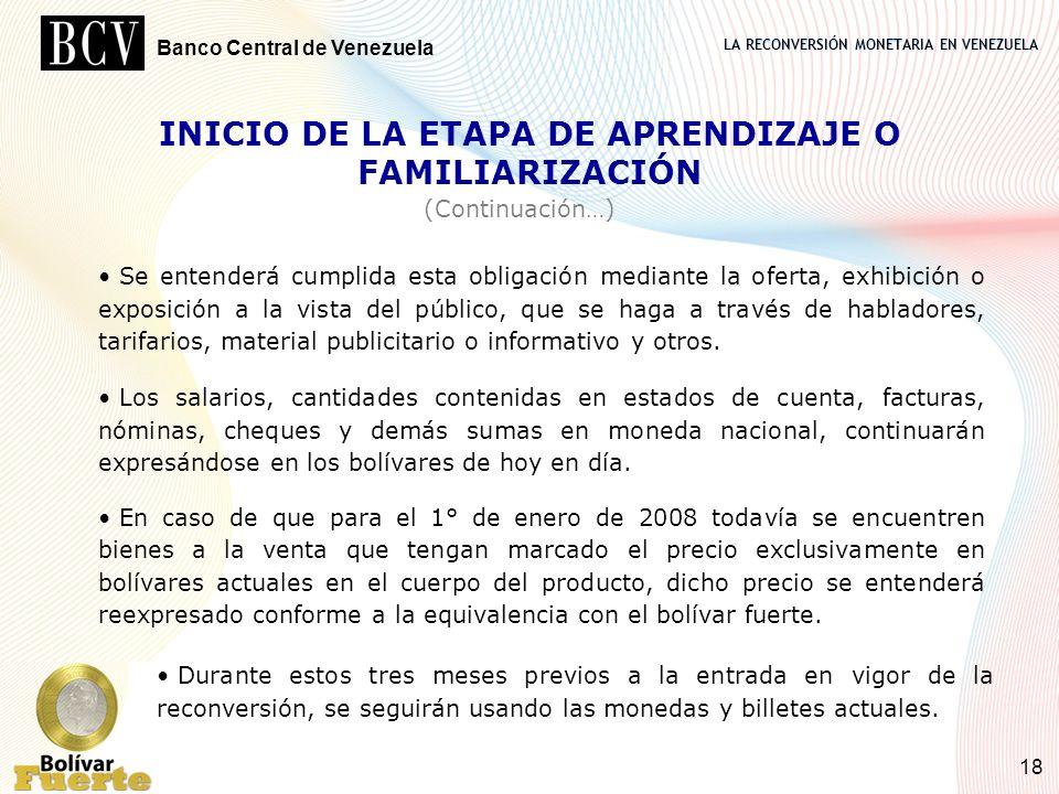 INICIO DE LA ETAPA DE APRENDIZAJE O FAMILIARIZACIÓN