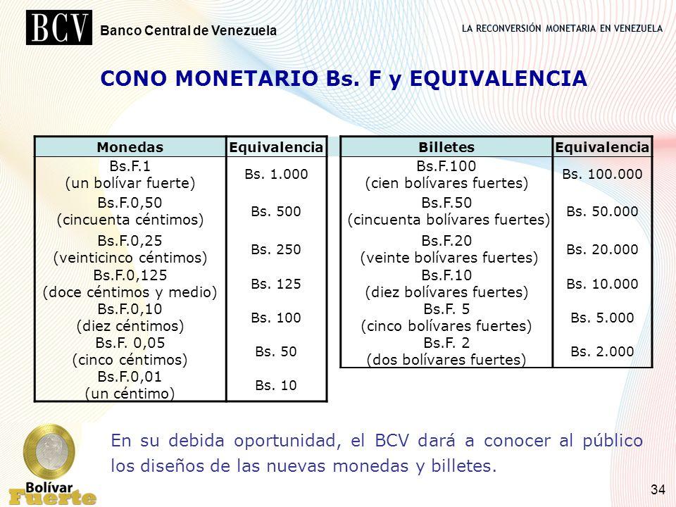 CONO MONETARIO Bs. F y EQUIVALENCIA