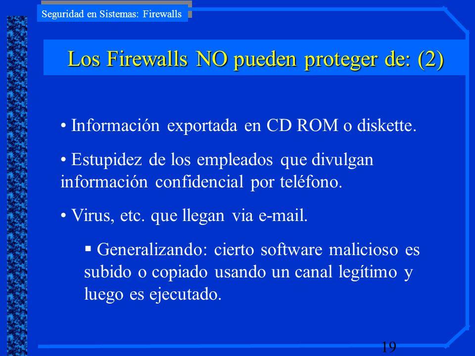 Los Firewalls NO pueden proteger de: (2)