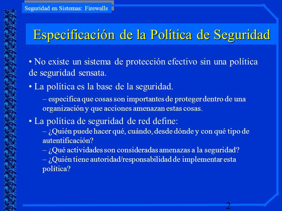Especificación de la Política de Seguridad