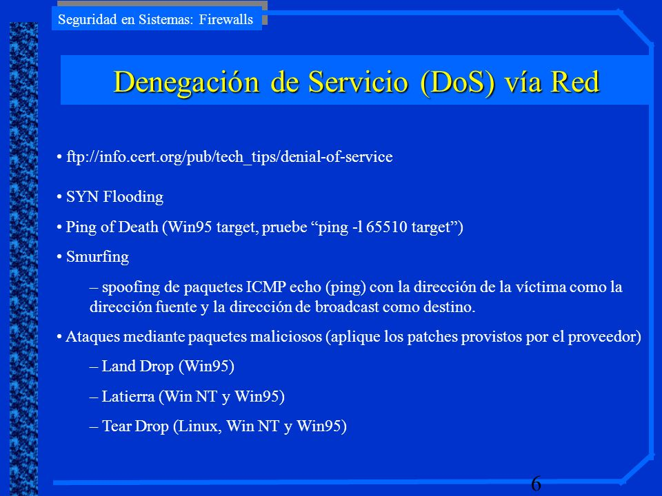 Denegación de Servicio (DoS) vía Red