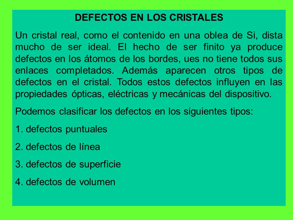 DEFECTOS EN LOS CRISTALES